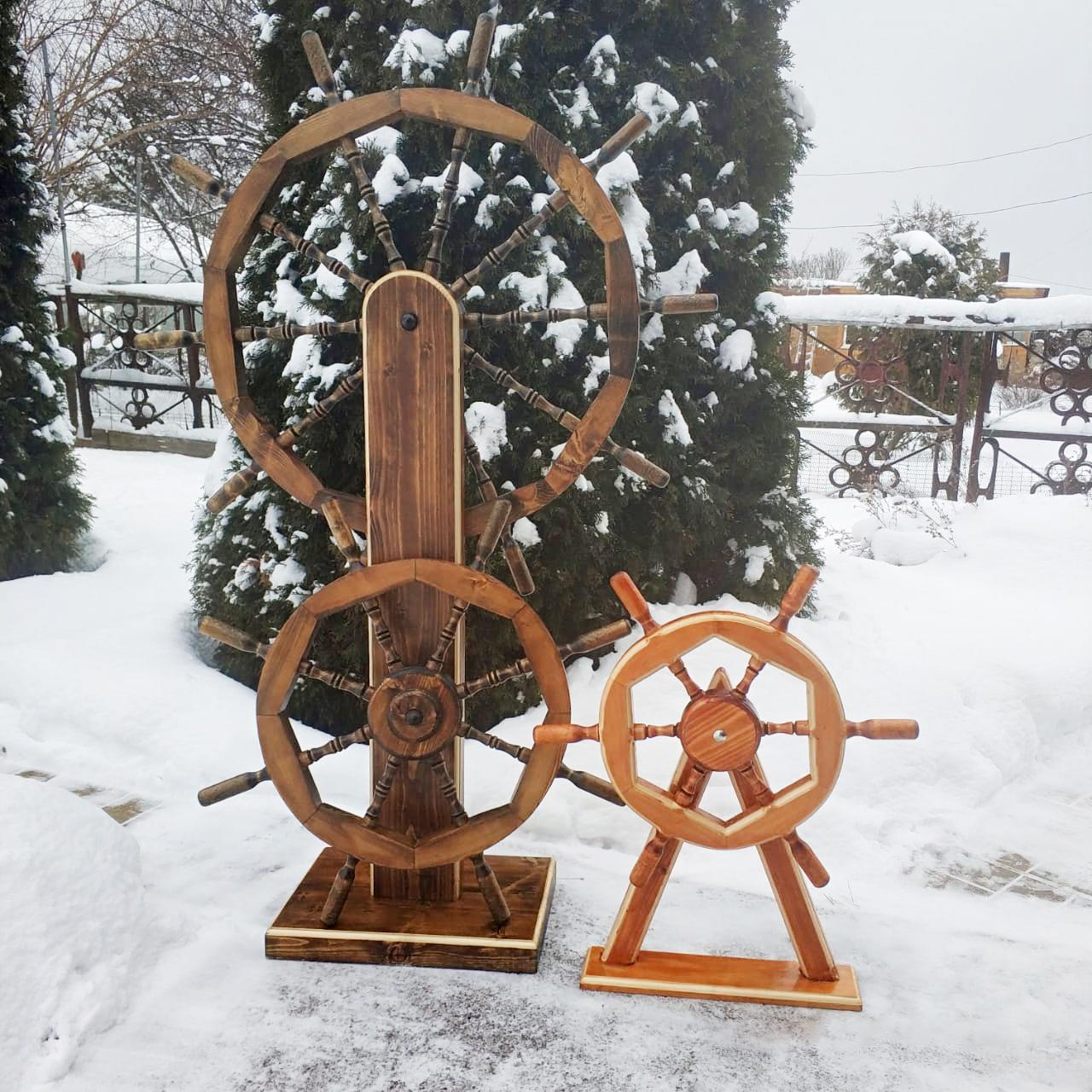 Штурвалы и якоря деревянные, декоративные